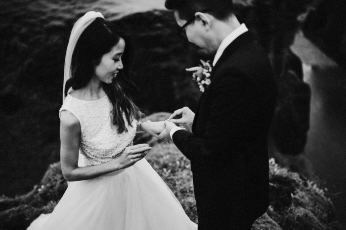 The wedding couple is exchanging wedding rings.