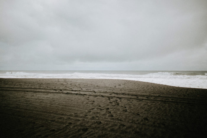 This photo shows a cloudy day at the beach in Iceland.