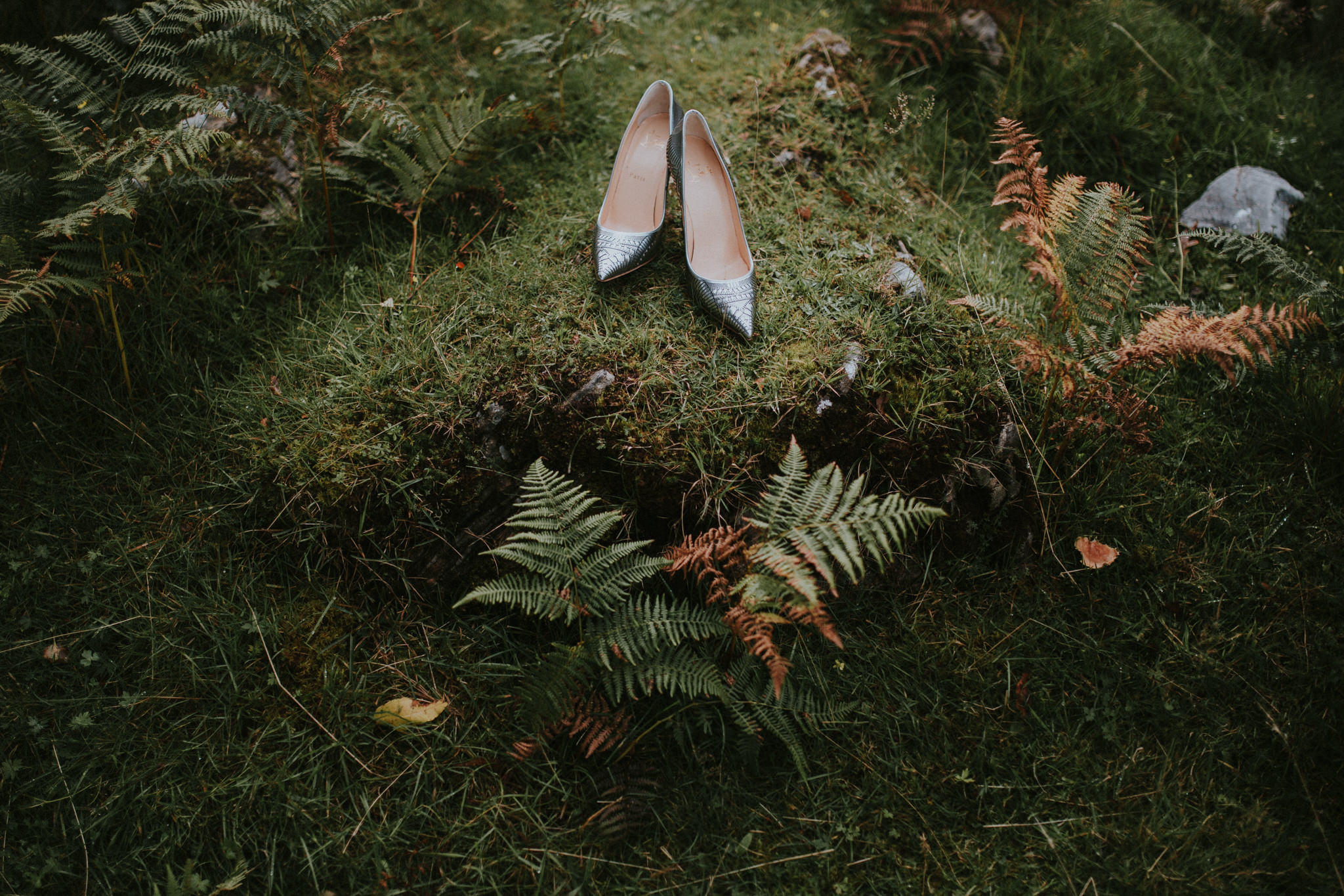 The wedding shoes are sitting on a mossy patch next to ferns.