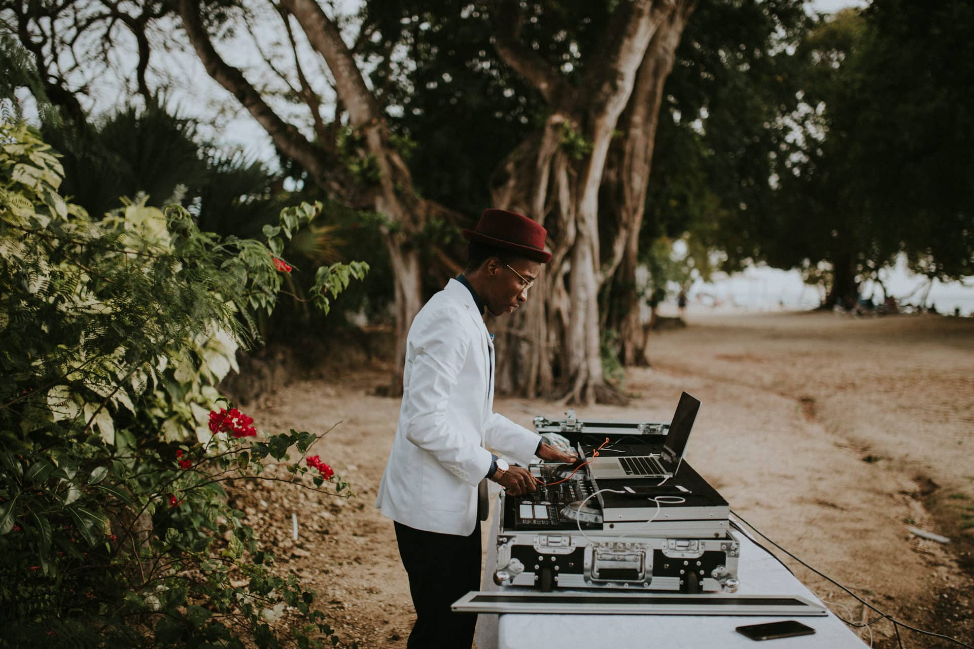 A DJ is playing music.