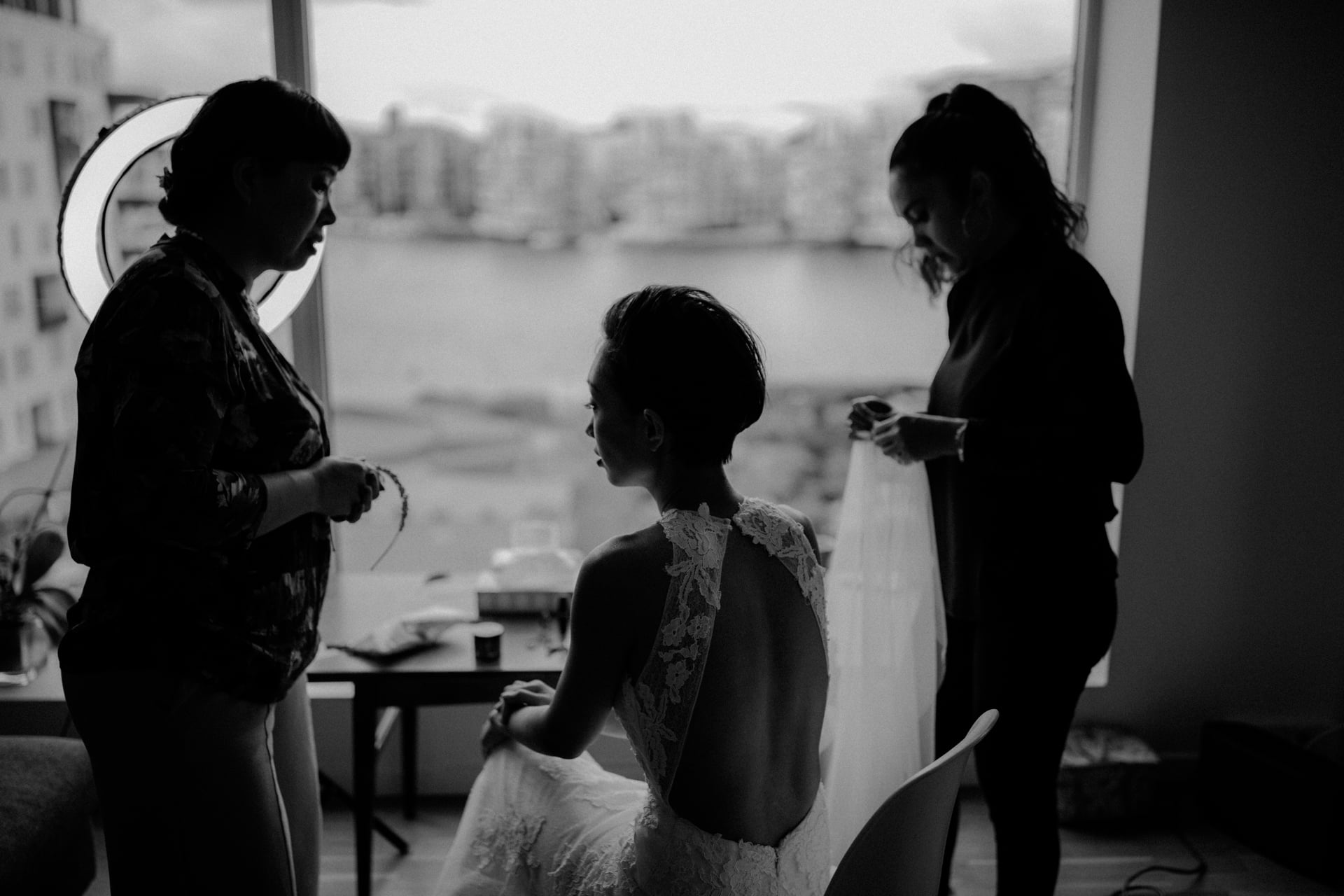 The bride is getting ready for her wedding.