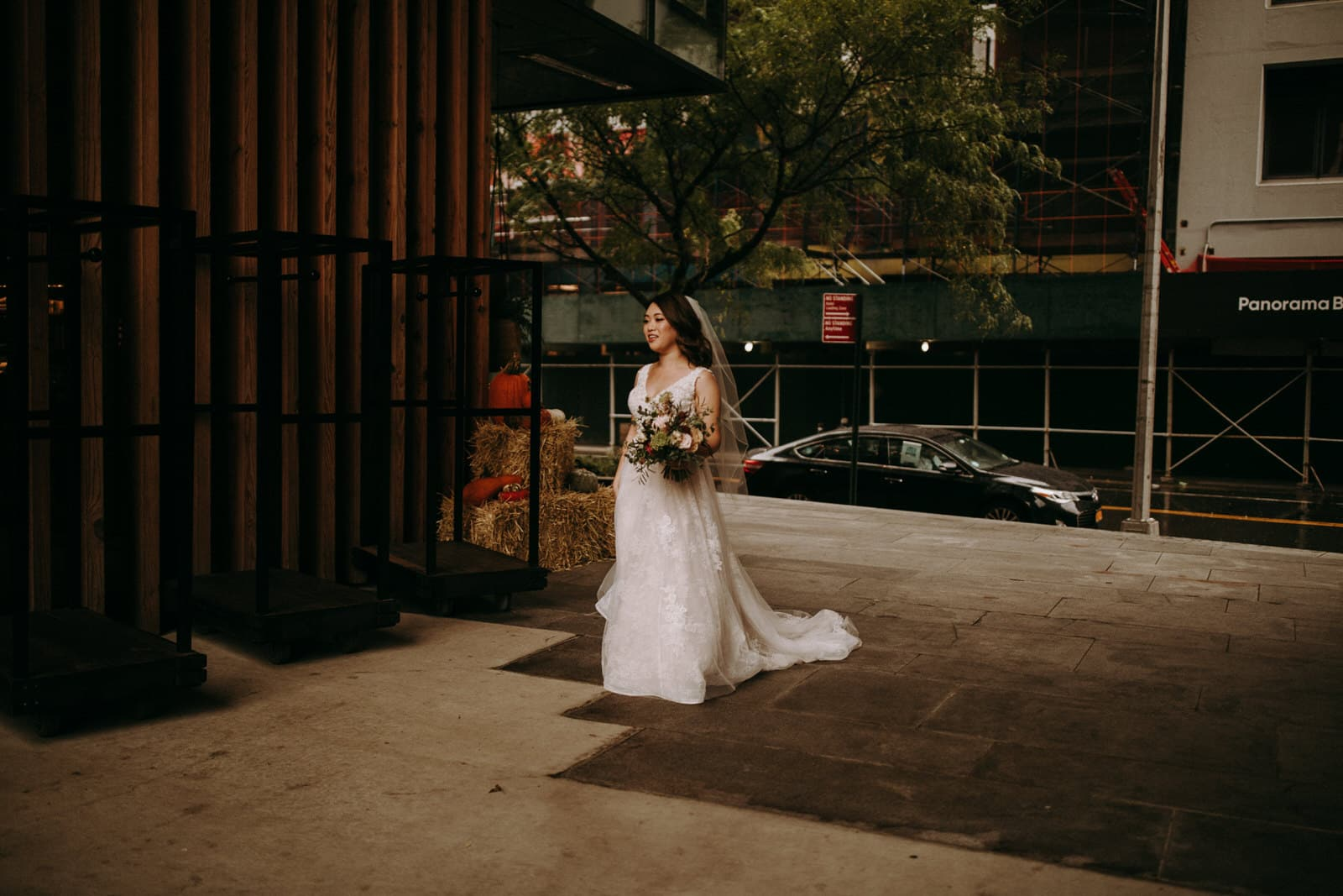 The bride is walking towards her groom.