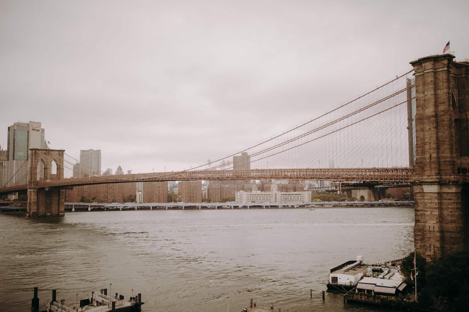 The wedding locations features a view of the Brooklyn Bridge.