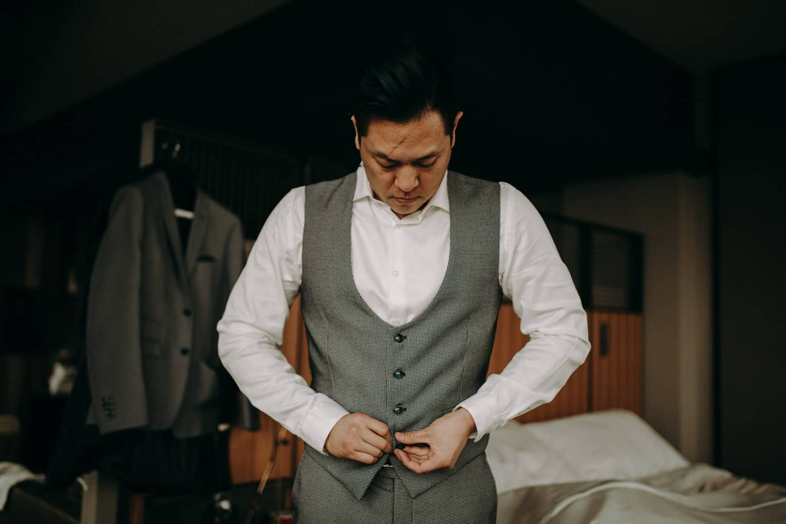The groom is getting ready.