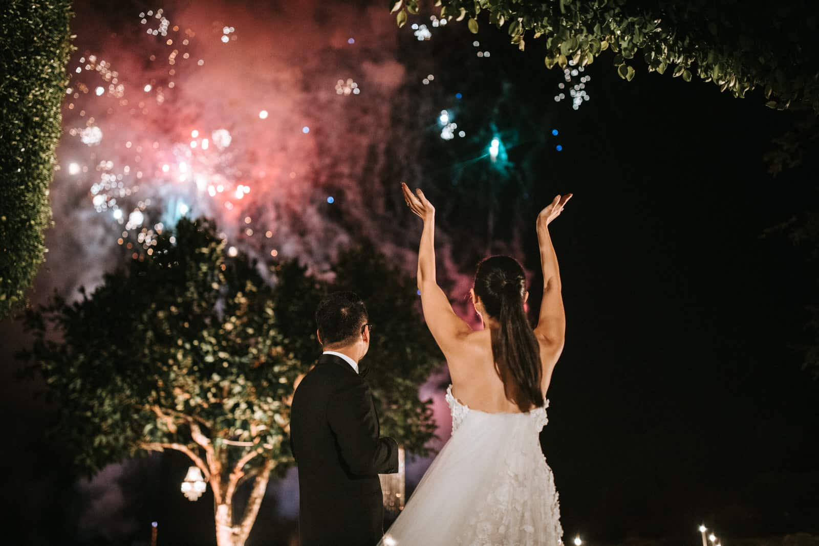 The wedding couple is looking at the firework.