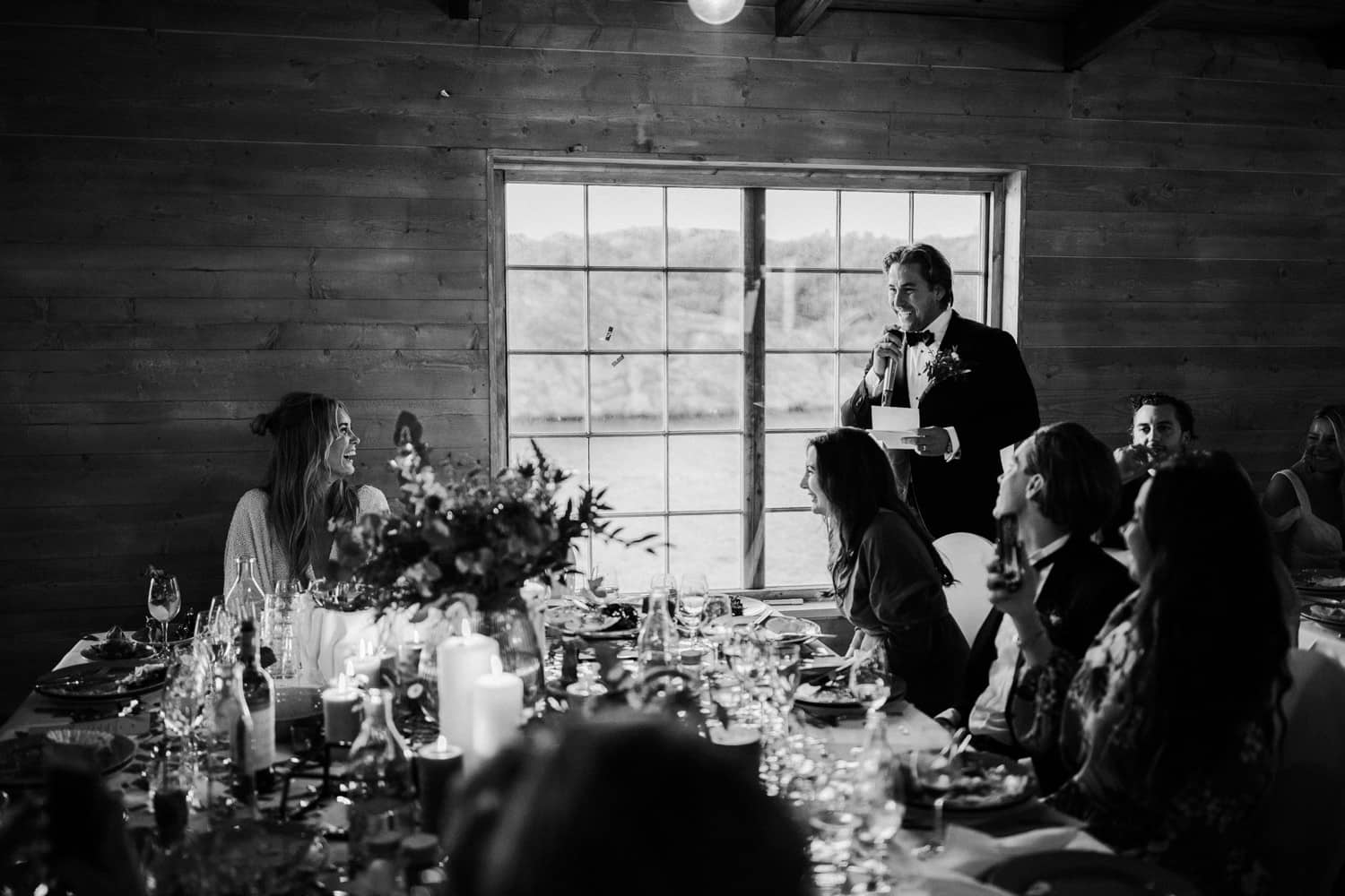 The groom is holding a speech.