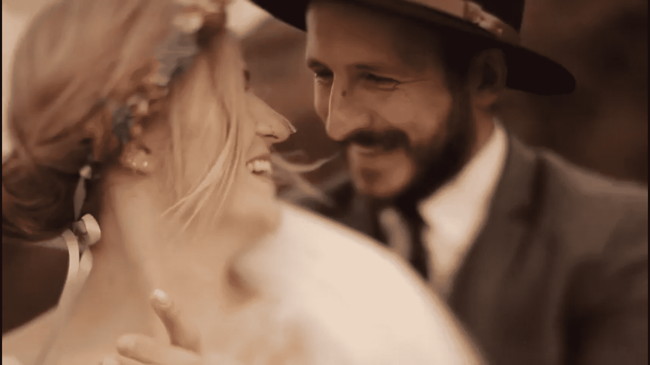 Close up of a wedding couple